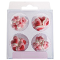 Pink Hearts & Flowers Edible Cupcake Toppers 24pcs
