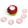 Pink Textured Flowers Edible Cupcake Toppers 12pcs