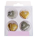 Silver & Gold Hearts Edible Cupcake Toppers 12pcs (Best Before: 26 Jan 2015)