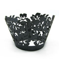 Tropical Pearl Gunmetal Black Lace Cupcake Wrappers 12pcs