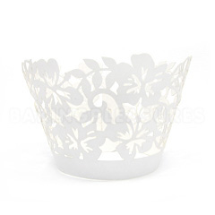Tropical Pearl White Lace Cupcake Wrappers 12pcs