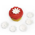 White Textured Flowers Edible Cupcake Toppers 12pcs